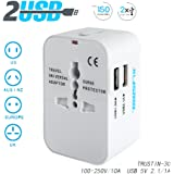 Travel Adaptors For Trustin, Worldwide All in One Universal Travel Adapter Wall AC Power Plug Adapter Wall Charger with Dual USB Charging Ports for USA EU UK AUS Cell Phone Laptop(white)