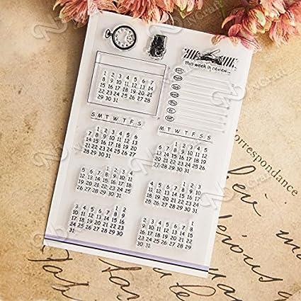 Amazon Com Dadacrafts Tm Calendar Planner Diy Clear Stamps For