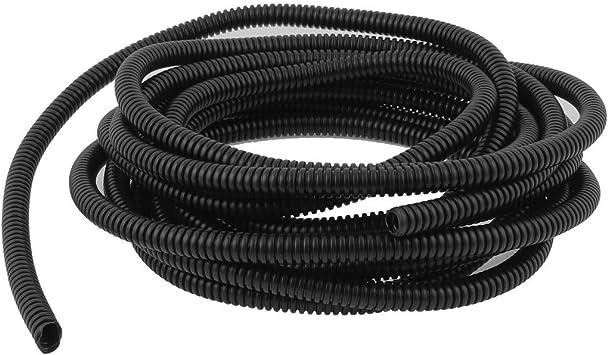 Alex Tech 7mm-30m Tubo Corrugato Aperto Guaina Cavi Isolante proteggere il cavo Nero