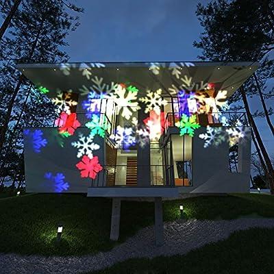 Christmas Projection Lights, HOSYO 10pcs Switchable Pattern Lens Motion Landscape Laser Christmas Lights LED Spotlights for Christmas Holiday Home Decoration Wall Motion Decoration