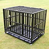 Sliverylake XXL 42'' Dog Cage Crate Kennel - Heavy Duty Double Door Pet Cage w/ Metal Tray Wheels Exercise Playpen (42'', New-Square Bar Black)