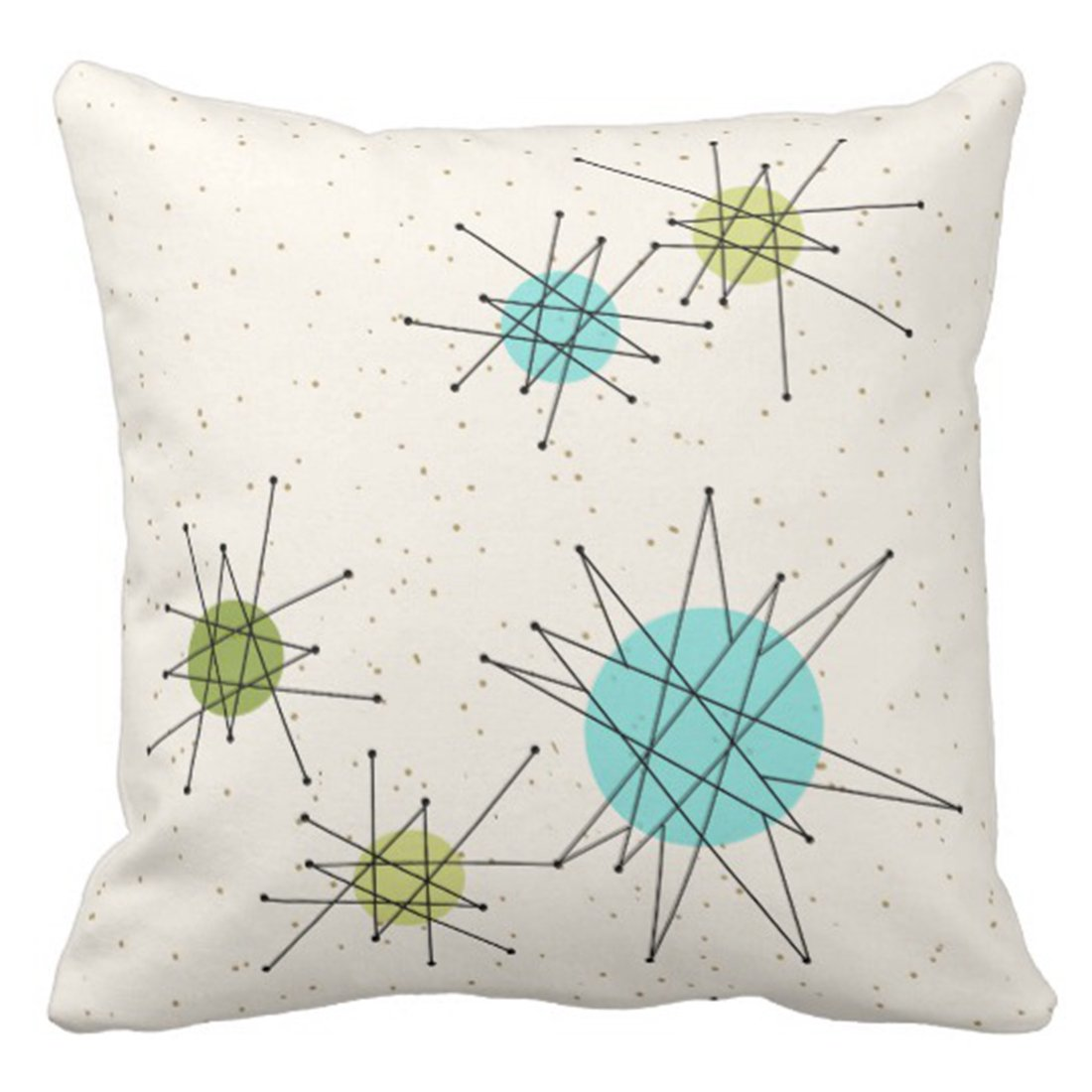 Emvency Throw Pillow Cover Iconic Atomic Starbursts Decorative Pillow Case Retro Home Decor Square 20 x 20 Inch Cushion Pillowcase