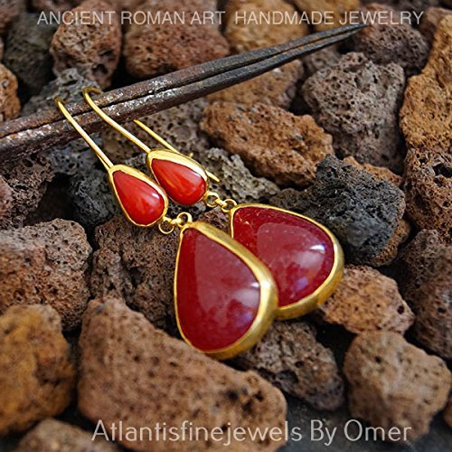 HANDMADE DROP JADE& CORAL EARRINGS BY OMER 24K GOLD VERMEIL OVER STERLING SILVER ()