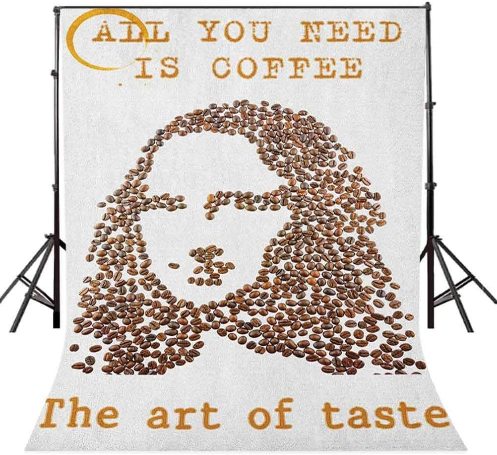 7x10 FT Quote Vinyl Photography Backdrop,A Face of A Young Woman Arranged from Coffee Beans with Quotes Creative Artwork Print Background for Baby Birthday Party Wedding Studio Props Photography