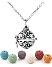 Heart of Charms Butterfly Lava Stone Aromatherapy Essential Oil Diffuser Necklace Antique Locket Pendant and 6 Cashmere Sustained Release Ball