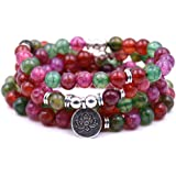 Summer Win 8mm 108 Amazonite Mala Beads Yoga Necklace Bracelet for Men Women for Yoga Buddhist Rosary Prayer Natural Gemstone Agate Jade