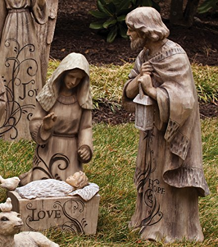 Gifted Living Mary, Joseph and Baby Jesus Large Nativity Trio Outdoor Statue ()