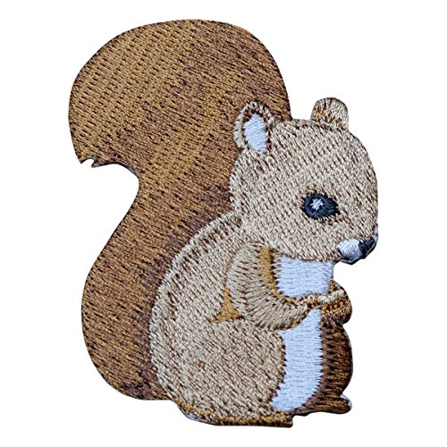 Squirrel Sitting Applique Patch (Iron on) (On Iron Squirrel)