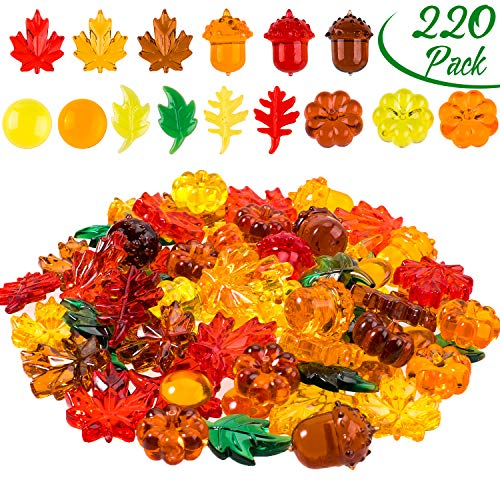 Fall Vase Fillers (Whaline 220 Pcs Acrylic Fall Decorations, Mini Fall Leaves Pumpkin Marbles Pine Cones Autumn Table Scatter Vase Filler for Fall, Autumn and Thanksgiving Decor, Preschool)