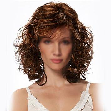 peluca de la señora material de la peluca pelo rizado largo Kasi dC