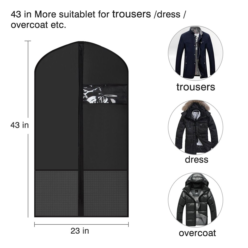 Clear Window and Pockets for Travel Storage Etmury Garment Bags for Clothing Closet Storage Etmury-garment Breathable Dustproof Durable Oxford Fabric with Zipper Suits Dresses Clothes Cover Black