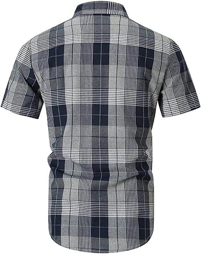 SANGQU Mens Casual Button Down Slim-Fit Plaid Printed Top Short Sleeve Shirt