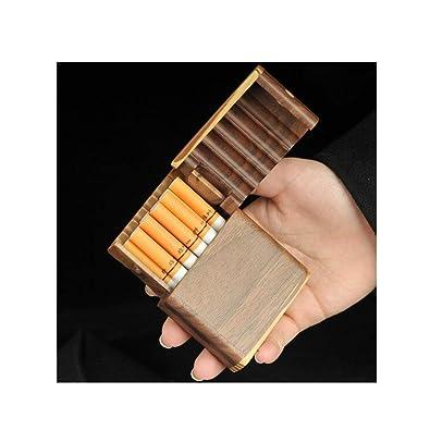 MUZIWENJU Estuche de cigarrillos con tapa de madera maciza ...