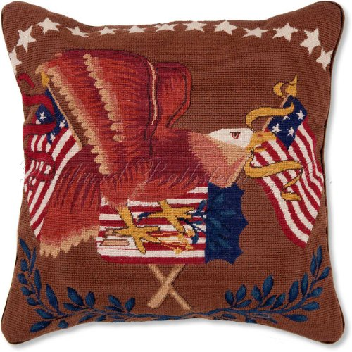 Handmade, Limited Edition Federal Eagle Patriotic Needlepoint Petit Point Colonial Williamsburg 4th of July American U.S. Flag Decorative Throw Pillow. 16