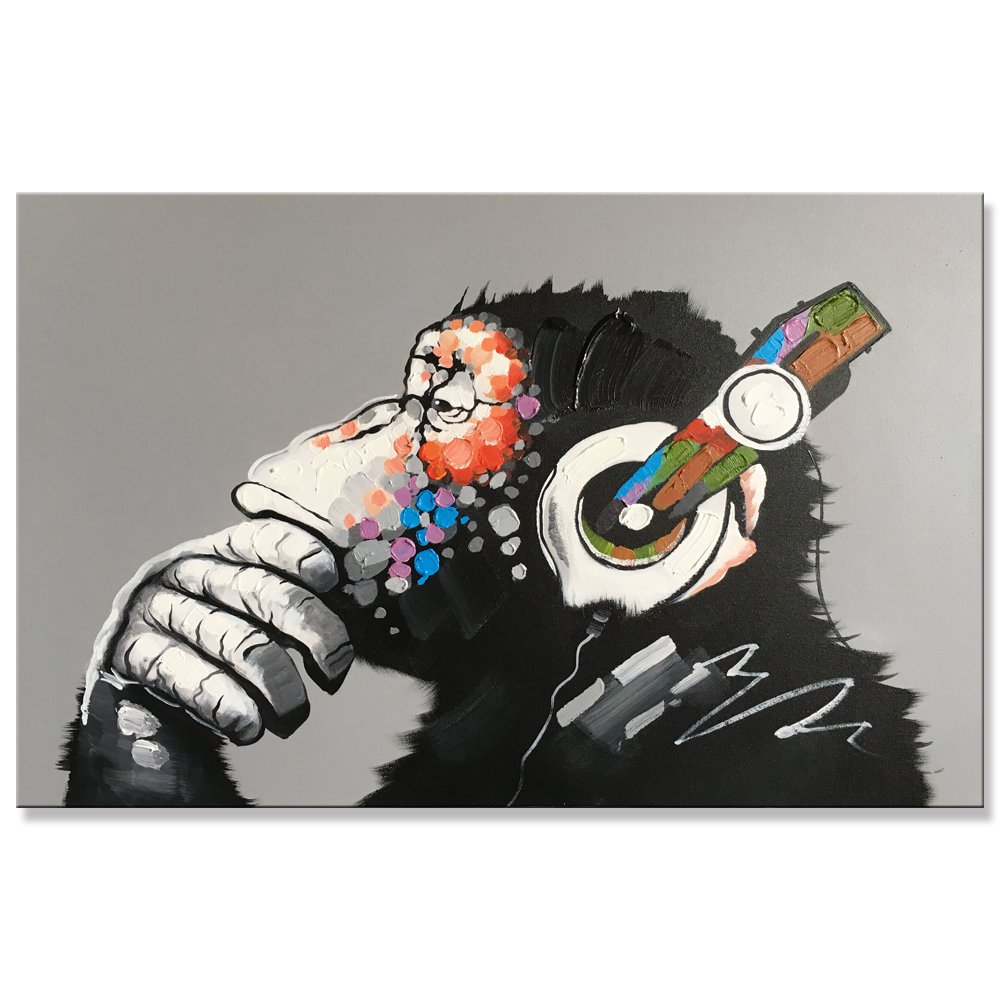 Yihui Modern Framed Gorilla Monkey Music Oil Painting Wall Decoration Painting Home Decor Oil Painting on Canvas (48x36 inch)