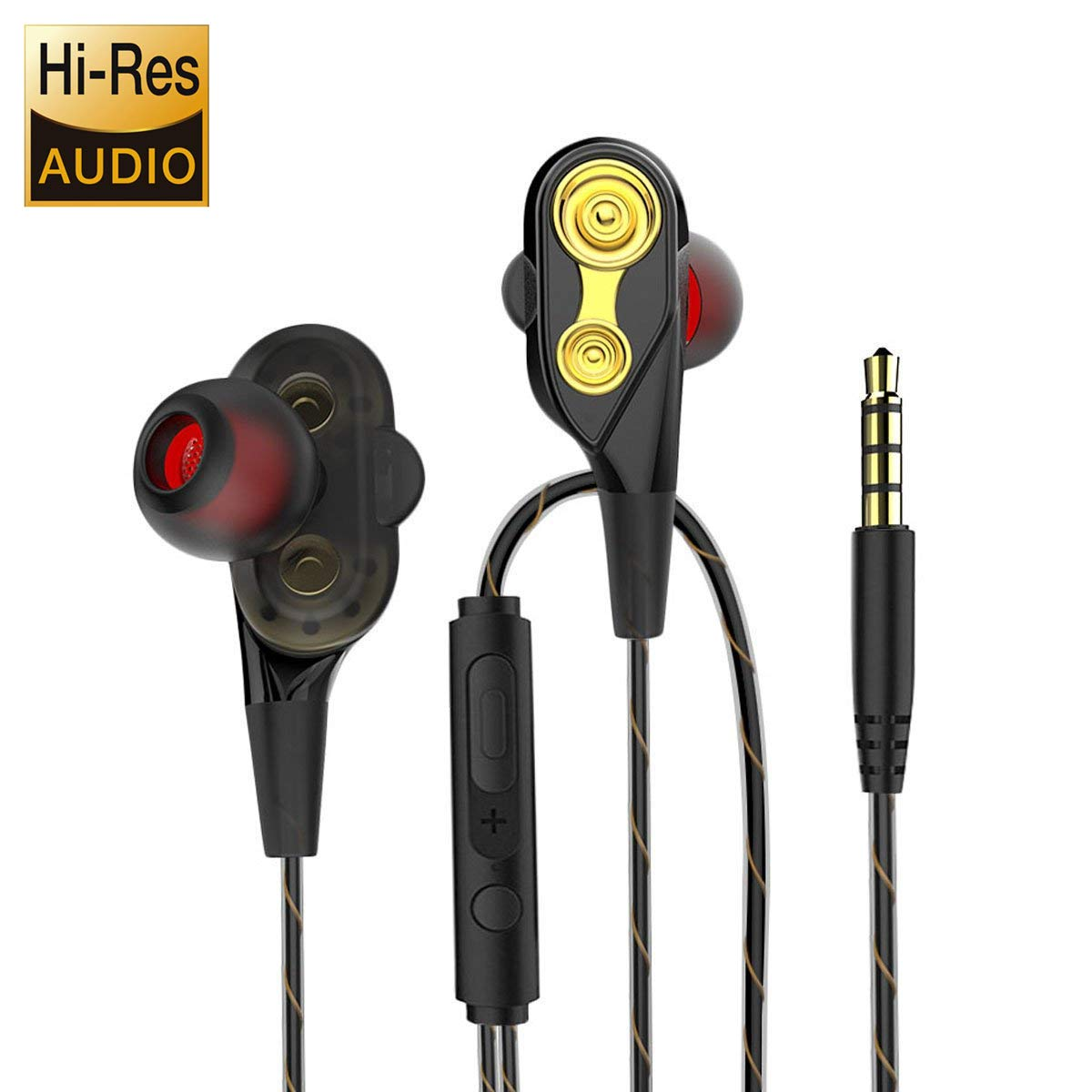 Earbuds Ear Buds in Ear Headphones Wired Earphones Microphone Mic Stereo Volume Control Waterproof Wired Earphone Mp3 Players Tablet Laptop 3.5mm Audio(Dual Driver)
