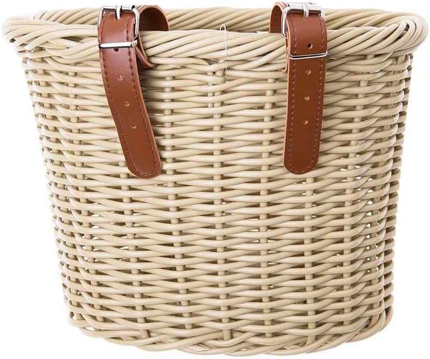 ACECITY Wicker D-Shaped Bike Basket, Portable Hand-Woven Shopping Basket Folk Craftsmanship Bicycle Handlebar Storage Basket with Leather Straps (M)