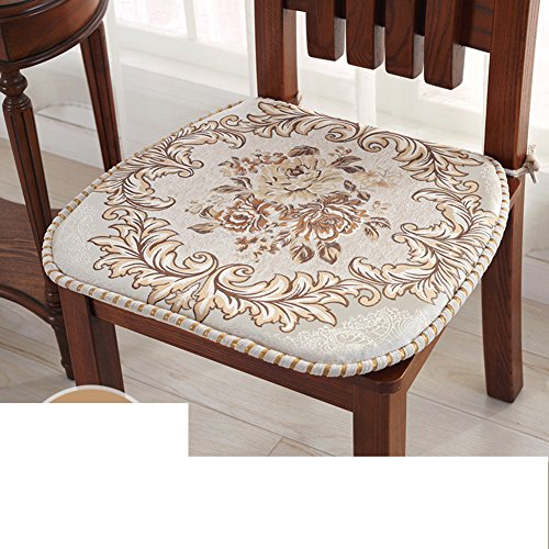 Price comparison product image European jacquard dining chair cushion, Padded winter plush common chair pad cushion autumn and winter cushion strap cushion cover-D 48x46cm(19x18inch)
