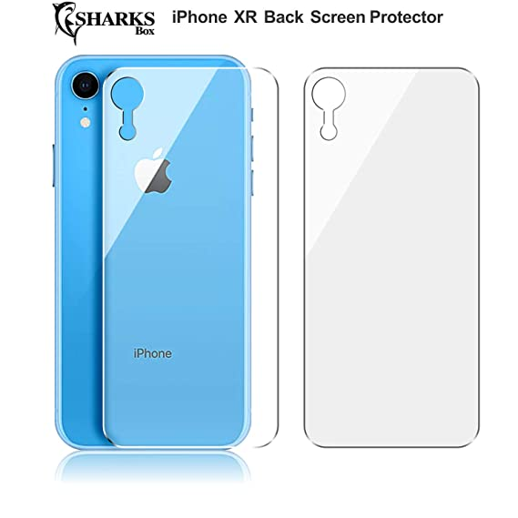 (2 Pack) Sharks Box Upgrade I Phone Xr Back Screen Protector For Apple I Phone Xr [Lifetime Replacements][Case Friendly] Back Temper Glass Screen Protector Rear Film Compatible With I Phone Xr 6.1 Inch by Sharks Box