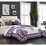 4 Piece Girls Medallion Floral Themed Duvet Cover Set Queen Size, For Master Bedrooms, Luxury Abstract Damask Patchwork Print, Elegant Boho Design, Patterned Reversible Bedding, Vibrant Purple Blue