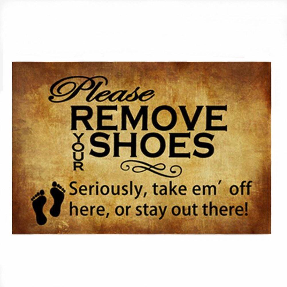 Doormat please remove shoes doormat images : Amazon.com : Burning Love Short Plush Material Retro Please Remove ...