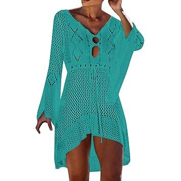 e8e76d43a1fd5 SMILEQ Mujeres Falda Casual Crochet Protector Solar Cubrir Bikini Traje de  baño Vestido de Playa Traje de baño Vendaje (Tamaño Libre Verde):  Amazon.es: ...