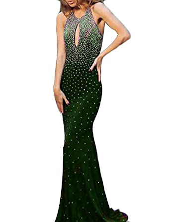 OYISHA Womens Open Front Beaded Prom Dresses Sexy Backless Party Dress 0028PM Army Green 2