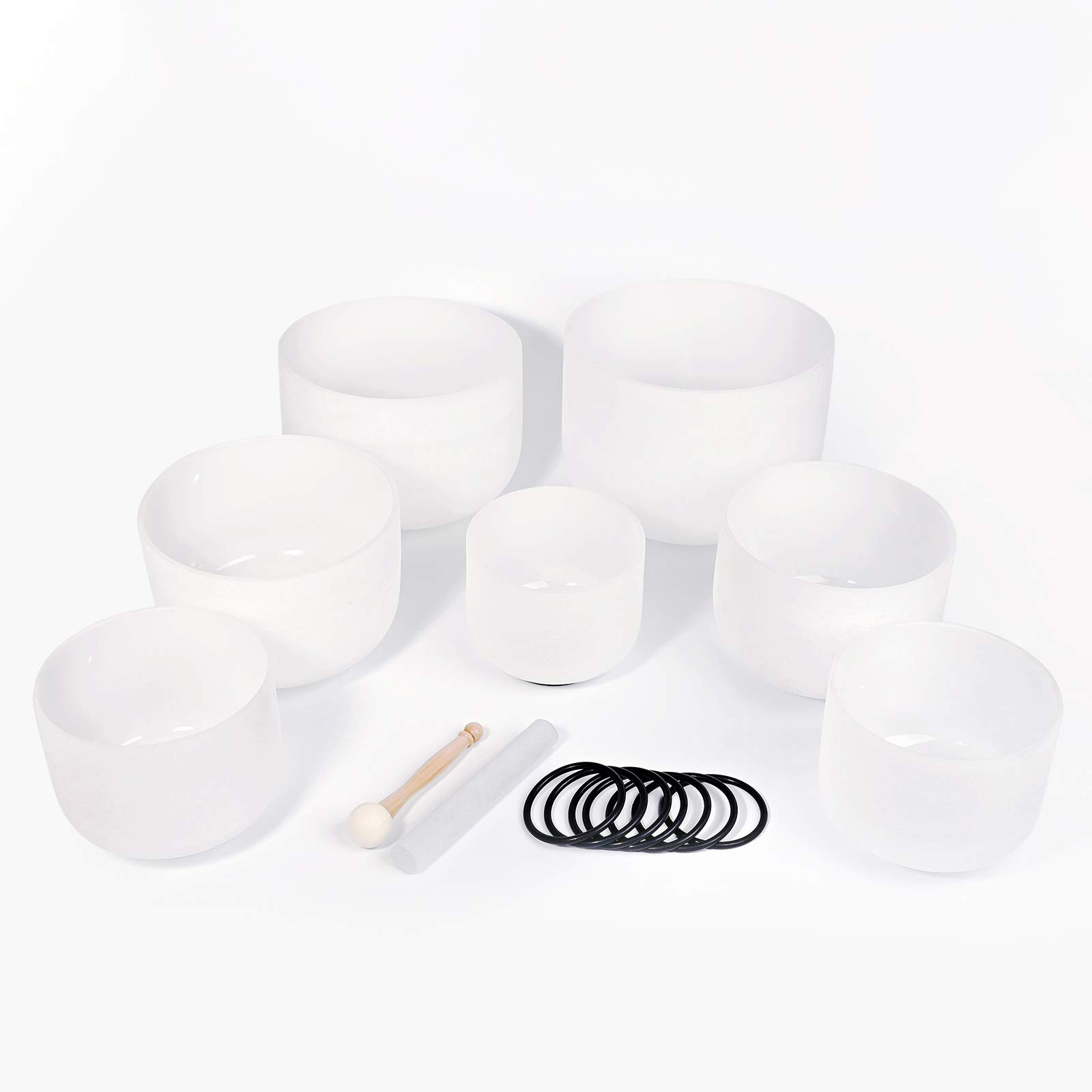 440HZ Sound Healing Set of 7 PCS Frosted Quartz Crystal Singing Bowl Chakra Tuned Set 6''-12'' with Free O-rings & Mallets by Unknown