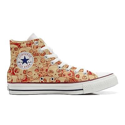 Converse All Star Chaussures Coutume (produit artisanal) Orange Skull