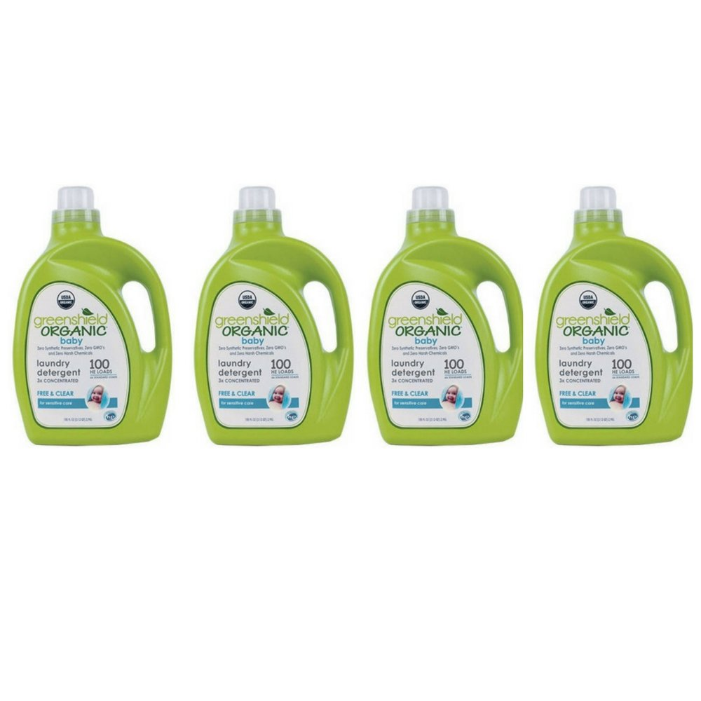 GreenShield Organic Baby Laundry Detergent, Free & Clear, 100 oz - Pack of 4
