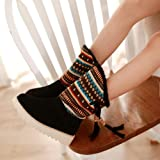 Women Warm Snow Boots,Sunyastor Winter Retro Tassel Folk-Custom Ankle Snow Boots Round Toe Shoes Tassel Plus Velvet Boots
