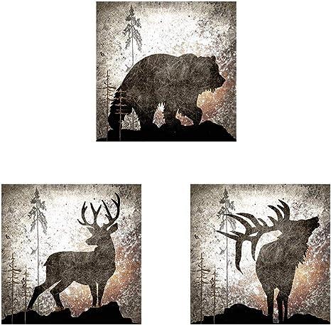 Calling Bear Deer Elk By Lightboxjournal 3 Piece Unframed Art Print Set 12 X 12 Inches Each Animal Art Posters Prints