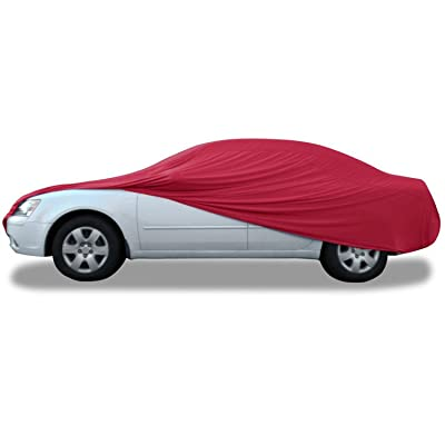 "Budge Indoor Stretch Car Cover, Luxury Indoor Protection, Soft Inner Lining, Breathable, Dustproof, Car Cover fits Cars up to 157"", Red: Automotive"