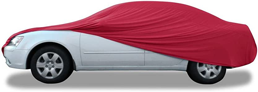 """Budge Indoor Stretch Car Cover, Luxury Indoor Protection, Soft Inner Lining, Breathable, Dustproof, Car Cover fits Cars up to 228"""", Red"""