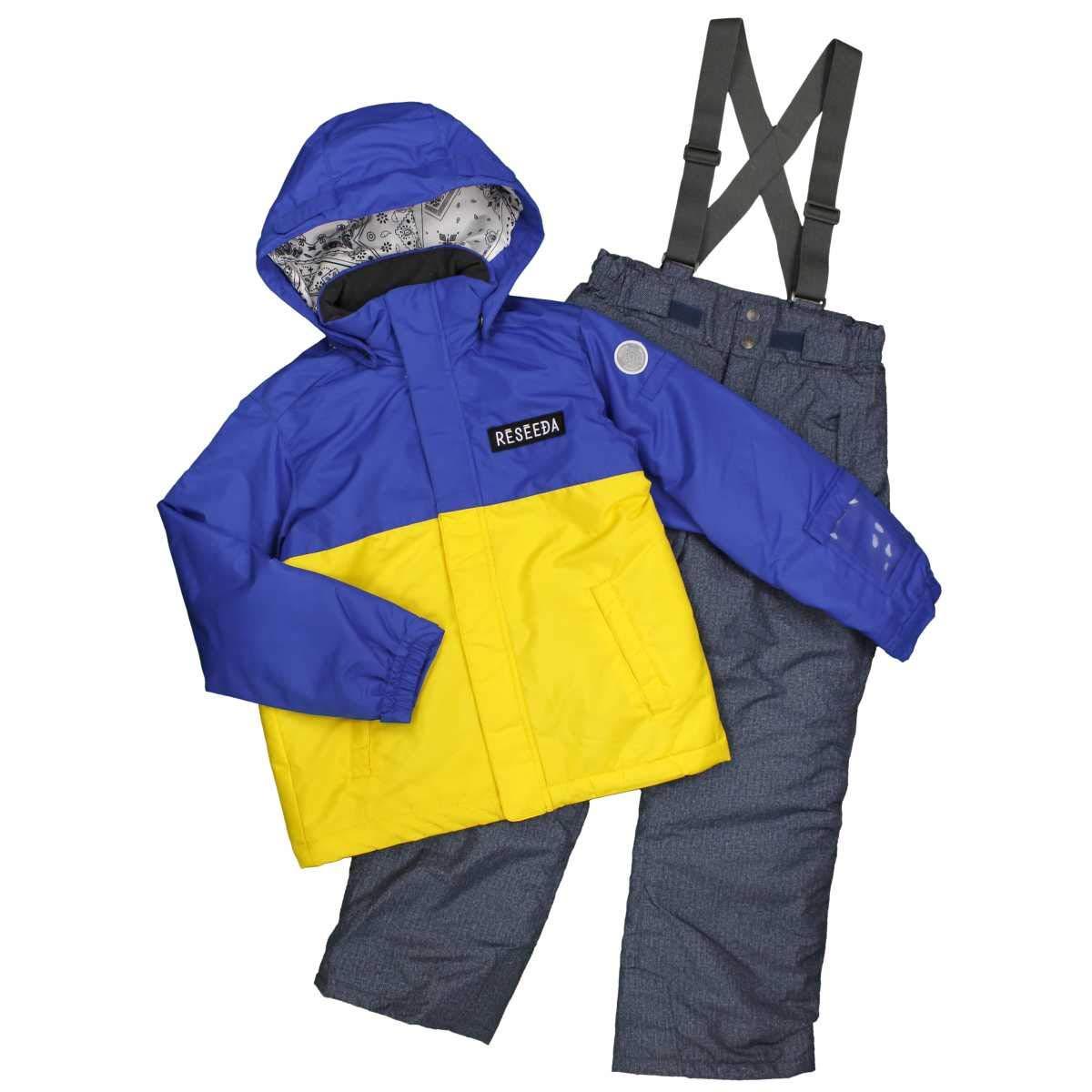 ピアニッシモ ボーイズジュニア スキーウェア 男の子 オンヨネ スキーウェア シンプル無地 バイカラー サイズ調整機能付 スキーウエア セット ブルー-インディゴ 130cm 140cm 150cm 160cm