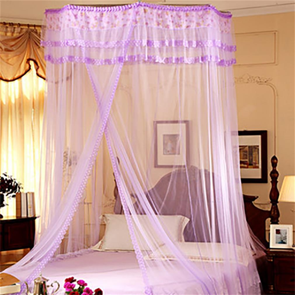 WP Dome Mosquito Net Ceiling Ceiling Princess Wind Hanging Court Round Round 1.8M Bed Mantle Double , polygon - purple