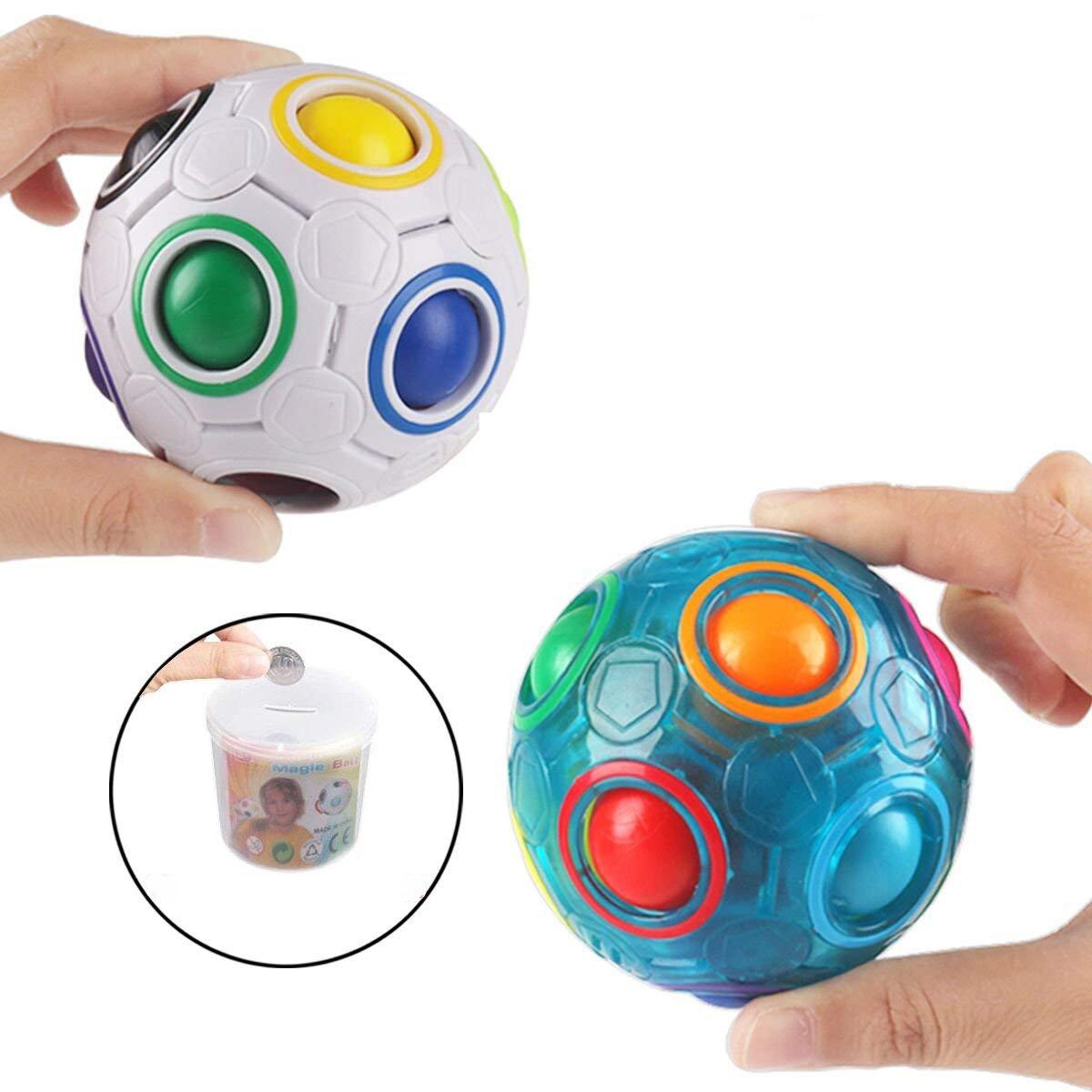 2PCS Regenbogen Ball Magic Ball Spielzeug Puzzle Magic Rainbow Ball für Kinder Pädagogisches Spielzeug Jugendliche Erwachsene Stress Reliever Malloom Pop Luminous Stressabbau Blau und Weiß PROACC
