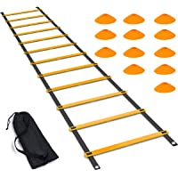 Luniquz Agility Ladder Set, 20FT Speed Training Drill Ladder with 12 Adjustable Rungs, Plus 12 Drill Cones for Soccer,Football,Sports Training - Includes Carry Bag