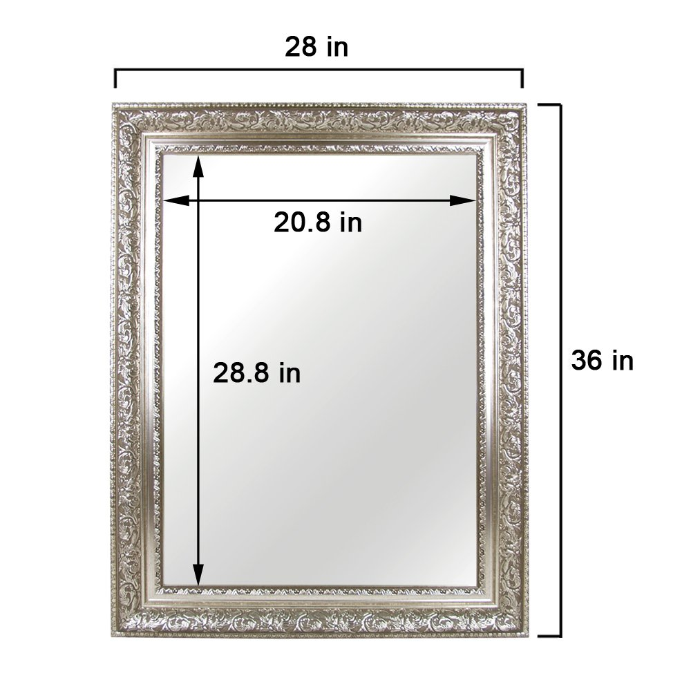 Hans&Alice Large Silver Vanity Wall-Mounted Mirror, 37.5''X25.5''. Luxury for Bathroom, Living Room, Bed Room. Hooks and Rope Included by Hans&Alice (Image #3)