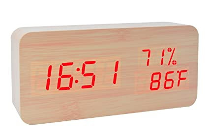 Reloj de Alarma de Madera LED Temperatura Digital y Humedad Escritorio de Oficina Electrónico Reloj de
