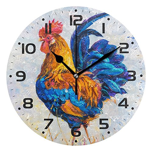 WellLee Colorful Rooster Clock Acrylic Painted Silent Non-Ticking Round Wall Clock Home Art Bedroom Living Dorm Room Decor