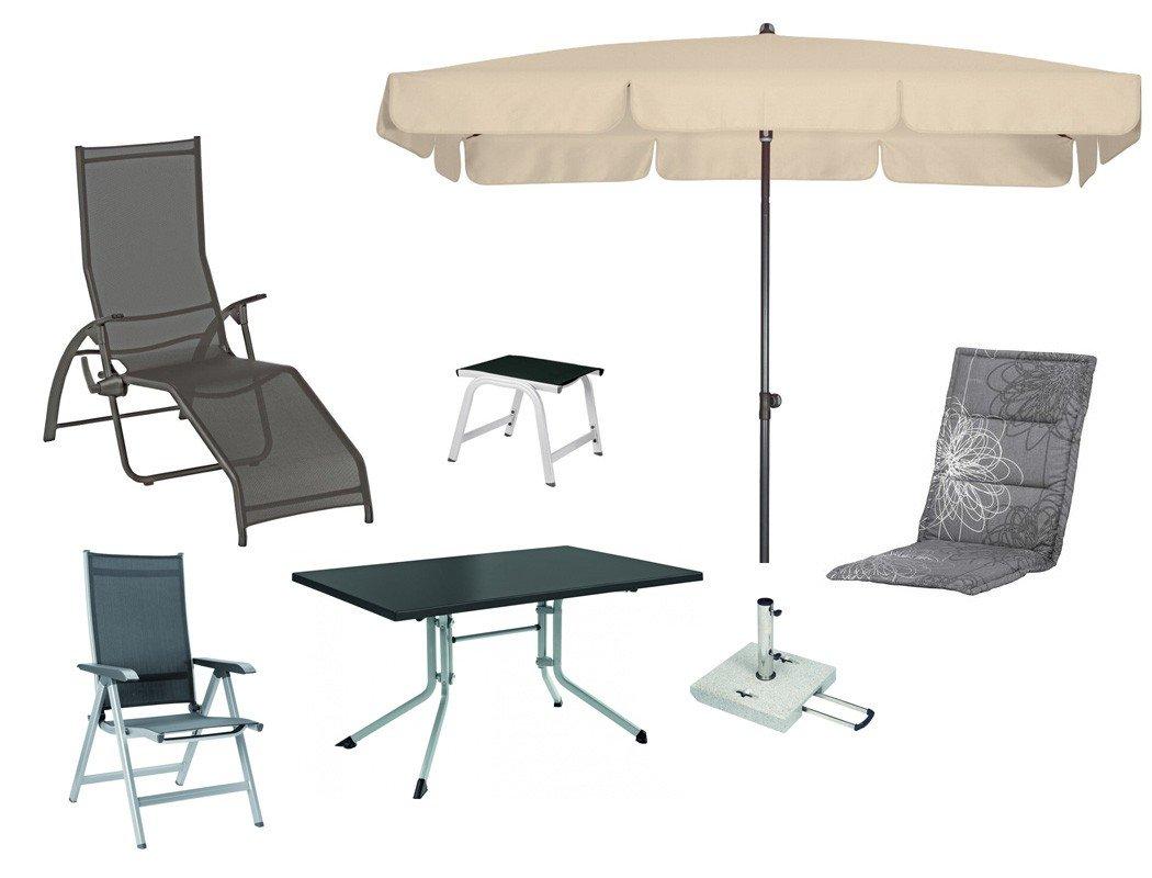 Kettler Gartenmöbel 13-teilig Sessel Hocker Liege Tisch Sonnenschirm ...