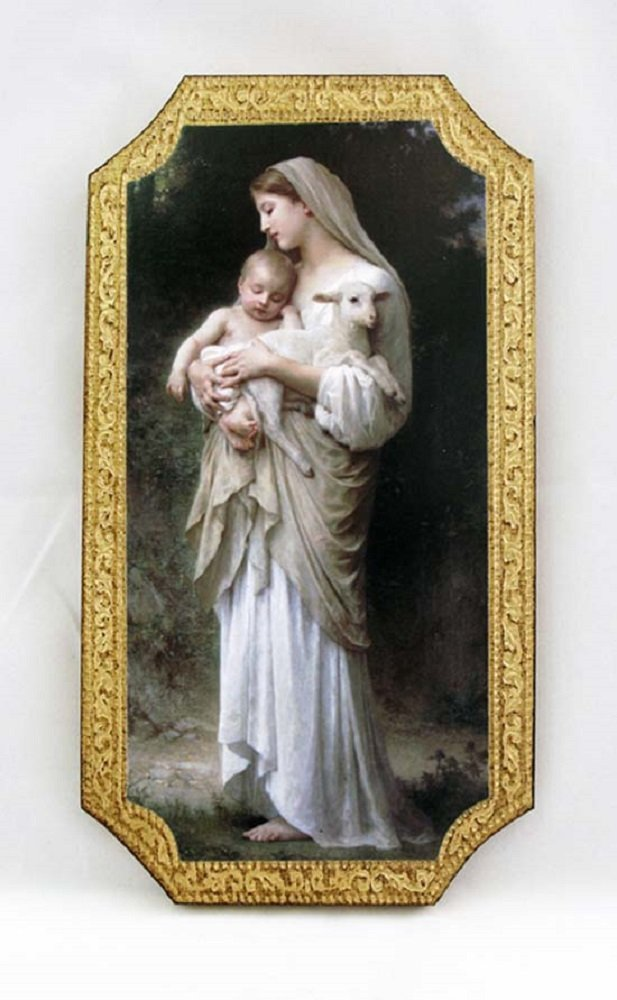 Innocence by Bouguereau Florentine Plaque, 5 x 9 inches. Made in Italy.
