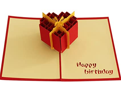 Amazon Com Happy Birthday Gift Box Pop Up Card Paper Craft For