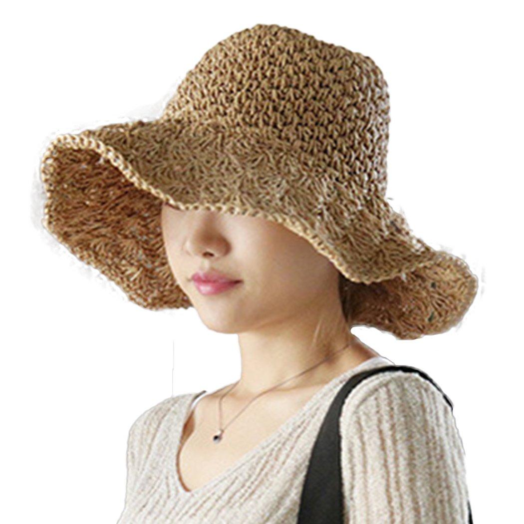 Raylans Women's Floppy Straw Hat Summer Beach Brim Sun Hat Y4600529