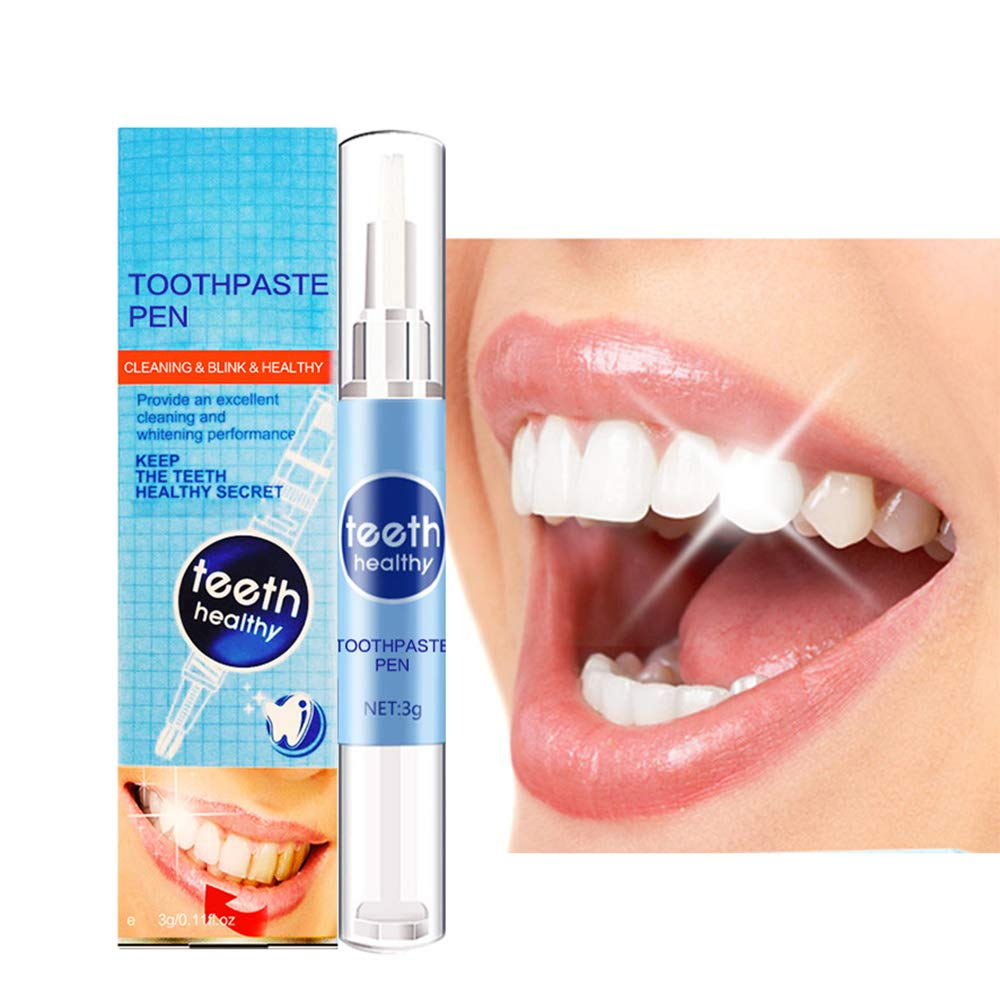 Teeth Whitening Gel Pen,Tooth Cleaning Bleaching Dental Tools No Sensitivity Quick Remove Stain Yellow Teeth Brightening Pen (Blue) Yakuro