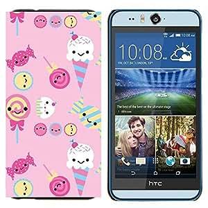 EJOOY---Cubierta de la caja de protección para la piel dura ** HTC Desire Eye M910x ** --helado de caramelo dulces lollipop rosado