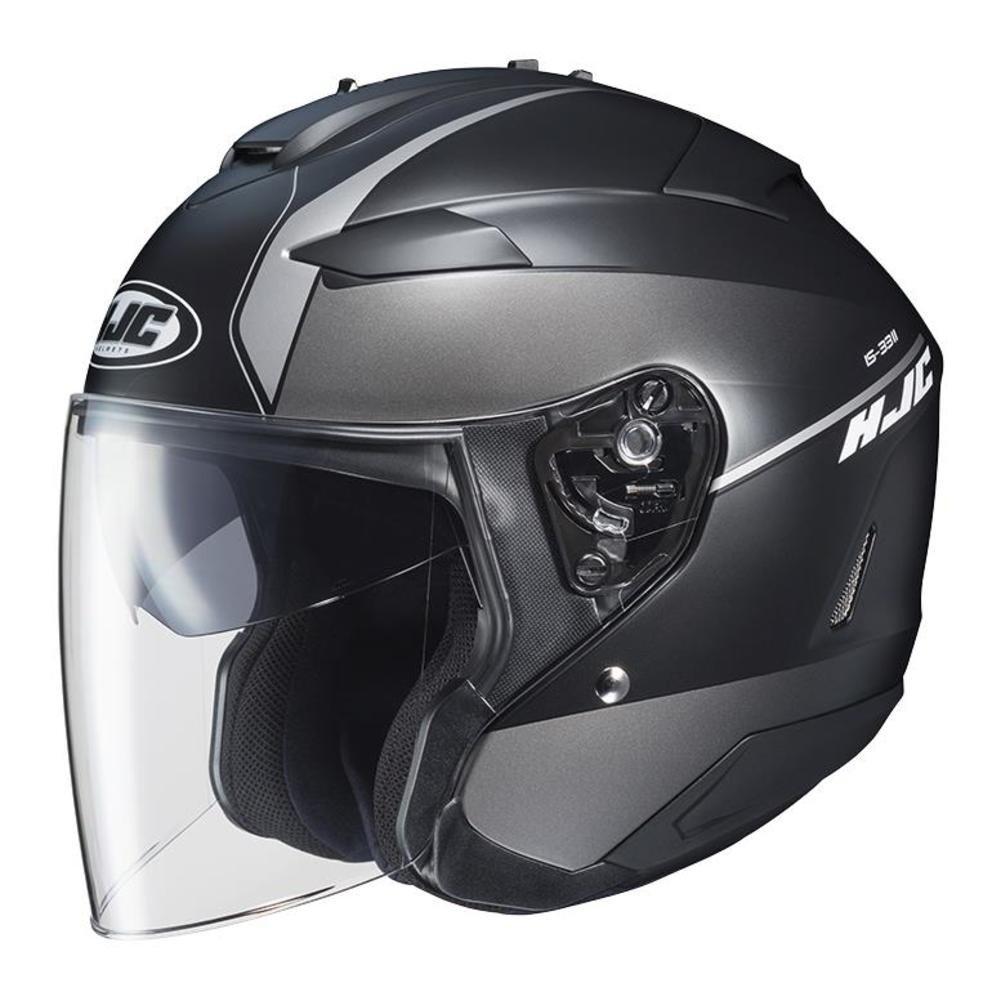 876-752 HJC Helmets Unisex-Adult IS-33 II Niro MC5SF Helmet Black//Silver, Small