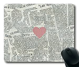 Aztec Inspired Pattern Heart ON Newspape Masterpiece Limited Design Oblong Mouse Pad by Cases & Mousepads