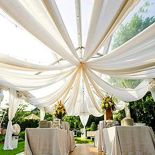AK TRADING CO. 120″ Wide 10Ft Wide Voile Ceiling Drapes Sheer Curtain Panel